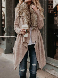 Open Front Faux Fur Collar Cardigan Coat