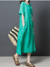 Load image into Gallery viewer, 2018 Short Sleeve Round Neck Loose Maxi Dress