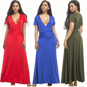 Hot SALE large size women s M-3XL extra long dress sexy V-neck evening dress