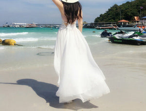 Spaghetti Strap Backless Irregular Beach Maxi Long Dress