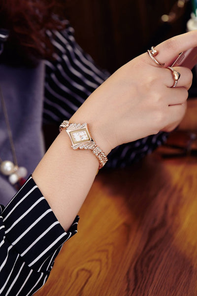 New Korean Bracelet Steel Band Rhinestone Women Quartz Watch