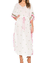 Load image into Gallery viewer, Bohemian embroidered ball pompoms drawstring tassel kimono-style dress