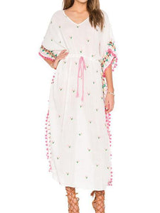 Bohemian embroidered ball pompoms drawstring tassel kimono-style dress