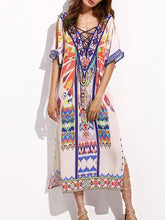 Load image into Gallery viewer, V-neckline Short Sleeves Maxi Print Bohemia Dress