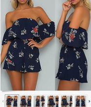 Load image into Gallery viewer, Printed shoulder-off collar dress skirts lotus leaf strapless shoulder