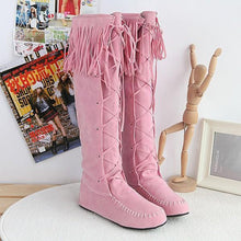 Load image into Gallery viewer, Hot sequined four seasons universal sleeve flat Fringed large yards female boots