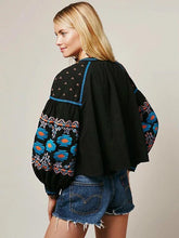 Load image into Gallery viewer, Boho Floral Embroidered Tassel Lantern Long Sleeve Loose Casual Tops Jacket
