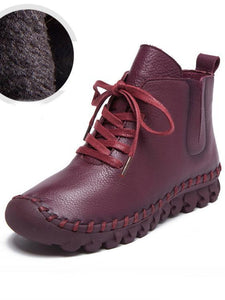 Winter Solid Color Genuine leather Booties