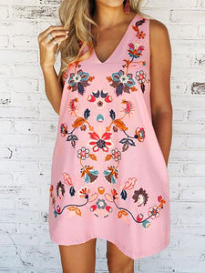 Floral Print  Women Fashion V-neck Sleeveless Casual Loose Summer  Loose A-line Party Dress