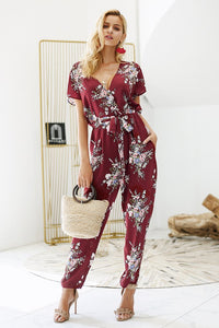 Vintage Floral Boho V-neck Short Sleeve Casual Jumpsuit