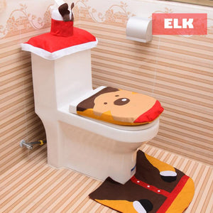 3-Piece Snowman Santa Toilet Seat Cover and Rug Set Christmas Decorations