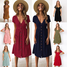 Load image into Gallery viewer, Summer Solid Color Short Sleeve Button Midi Dress