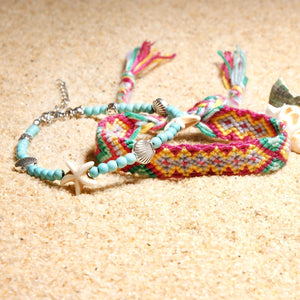 Double-layer Conch Starfish Beach Weaving Anklet Bracelet