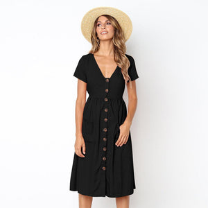 Summer Solid Color Short Sleeve Button Midi Dress