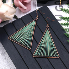 Load image into Gallery viewer, Geometric Triangle Fabric Gold Thread Tassel Earrings