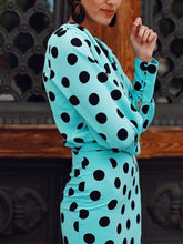 Load image into Gallery viewer, Sexy Deep V-neck Long Sleeve Polka Midi Dress