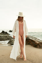 Load image into Gallery viewer, Wrinkled Cloth Belt Sunscreen Beach Bikini Blouse