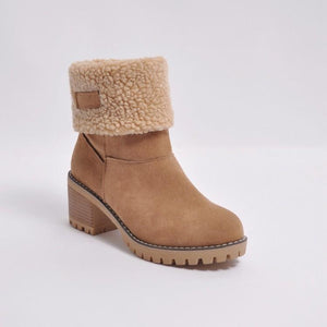 Brushed Thickness Solid Color Round Toe Flock Short Boots