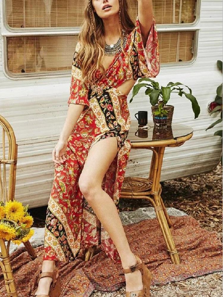Babushka Printed Kimono Style Sleeves Plunging V-neck Backless Maxi Dress