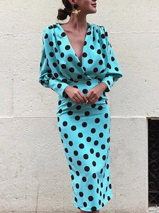 Sexy Deep V-neck Long Sleeve Polka Midi Dress