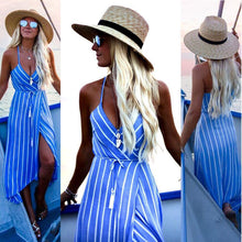 Load image into Gallery viewer, Sexy V-Neck Stripes Maxi Dress Beach Dress