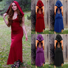 Load image into Gallery viewer, Halloween Hooded Sleeveless Round Neck Solid Color Retro Dress
