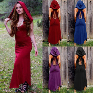 Halloween Hooded Sleeveless Round Neck Solid Color Retro Dress