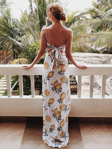 Spaghetti-neck Printed Maxi Dress
