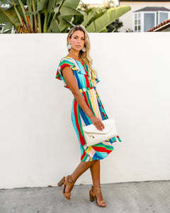 Sloping Shoulder Strapless Lace-Up Irregular Rainbow Striped Dress