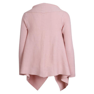 Casual Pink Solid Color Knit Cardigan Sweater
