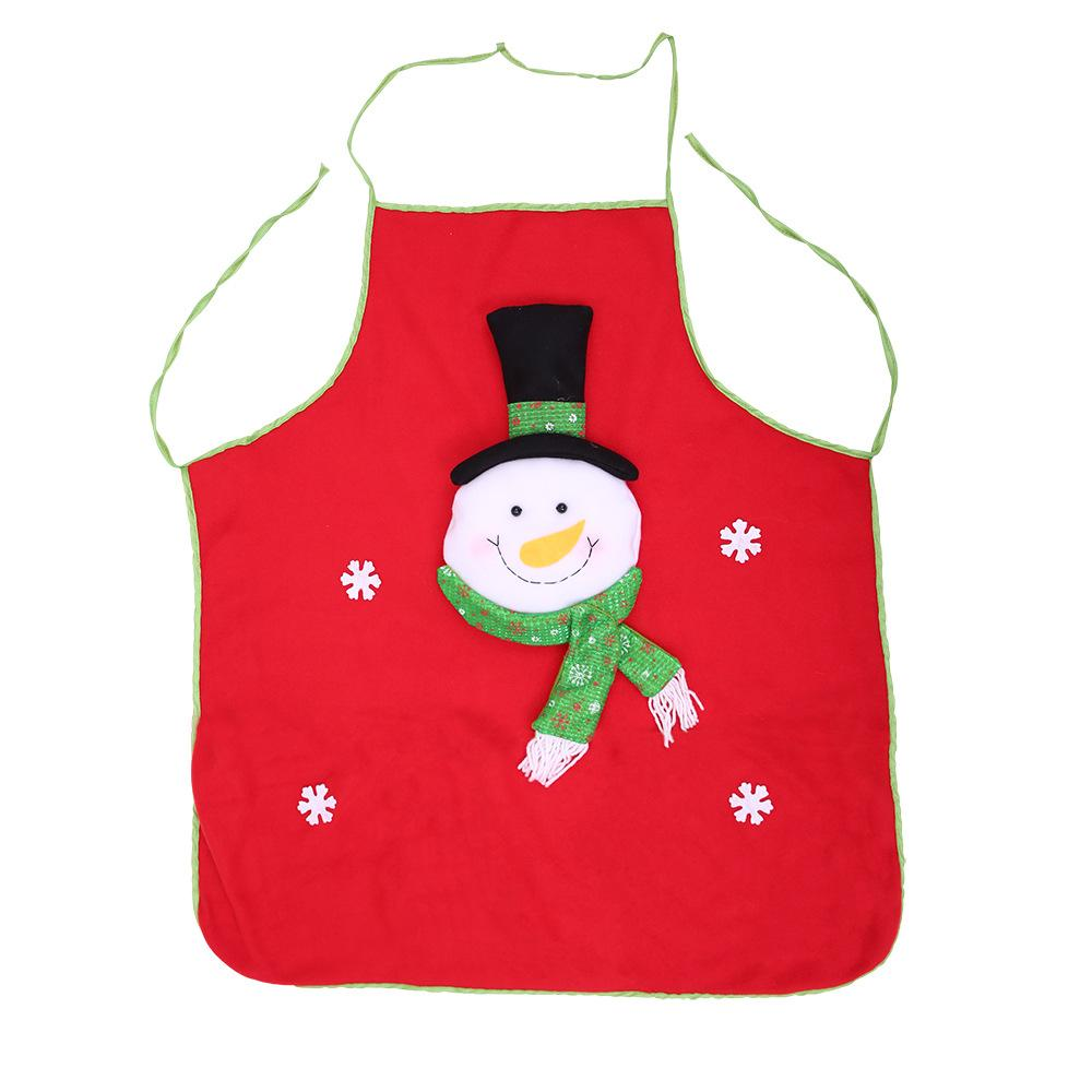 Holiday Santa Snowman Kitchen Cooking Red Christmas Apron
