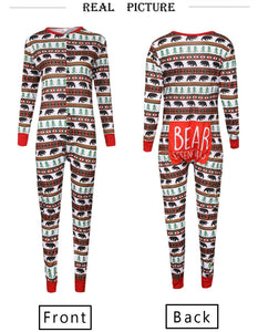 Fashion Round Neck Button Special Christmas Print Jumpsuit Matching Outfit
