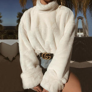 Casual Long Sleeve Turtleneck White Soft Plush Pullover Tops