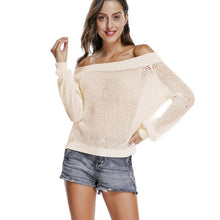 Load image into Gallery viewer, White Off Shoulder Puff Sleeve Autumn Knit Jumper Sweater