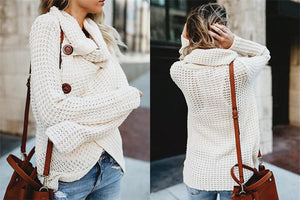 Turtleneck Cardigan Solid Color Button Irregular Sweater
