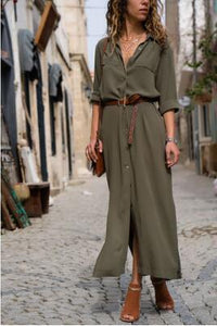 Solid Color Long Sleeve Button Belted Shirt Dress