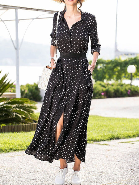 Autumn And Winter New Women Long-Sleeved Polka-Dot Dress