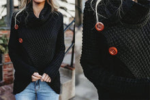 Load image into Gallery viewer, Turtleneck Cardigan Solid Color Button Irregular Sweater