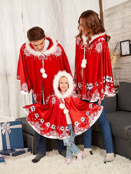 Little Red Riding Christmas Costume Parent-Child Wear Hood Shawl