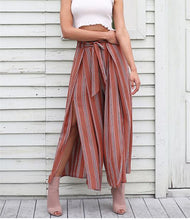 Load image into Gallery viewer, Casual High Waist Split Stripe Wide Leg Pants