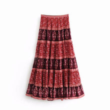 Load image into Gallery viewer, Floral Patchwork Elastied Waist Big Swing Bohemian Skirt