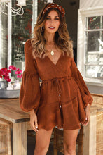 Load image into Gallery viewer, V Neck Long Sleeve Solid Color Mini Dress