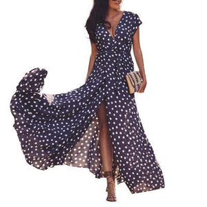Sexy Deep V Polka Print Sleeveless Cardigan Strap Maxi Dress