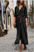 Load image into Gallery viewer, Solid Color Long Sleeve Button Belted Shirt Dress