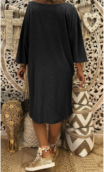 Solid Color V Neck Loose Casual Dress