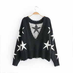 Autumn Long Sleeve Deep V Neck Star Tassels Sweater