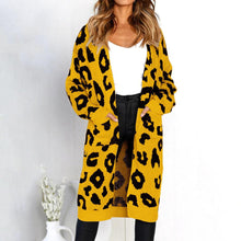 Load image into Gallery viewer, Long Sleeve Leopard Knit Loose Pocket Long Cardigan Coat