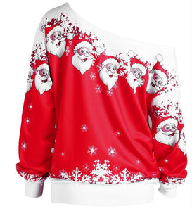Santa Claus Print Oblique Shoulder Long Sleeve Tops