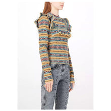 Load image into Gallery viewer, Autumn And Winter Geometric Stripes Wooden Ear Bottoming Slim Sweater