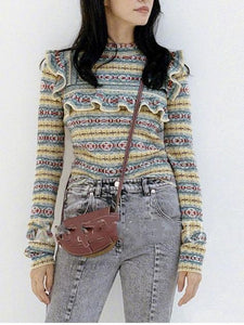 Autumn And Winter Geometric Stripes Wooden Ear Bottoming Slim Sweater